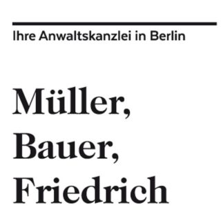 Logo und Design Anwaltskanzlei Müller, Bauer, Friedrich