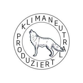 Logo Klimaneutral Kampagne heulender Wolf