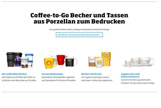 Produktabbildungen Internet online verschiedene Coffee to go Becher, Tassen und Becher aus Porzellan